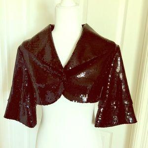 MARCIANO Black Sequin Crop HOLIDAY Jacket Small s